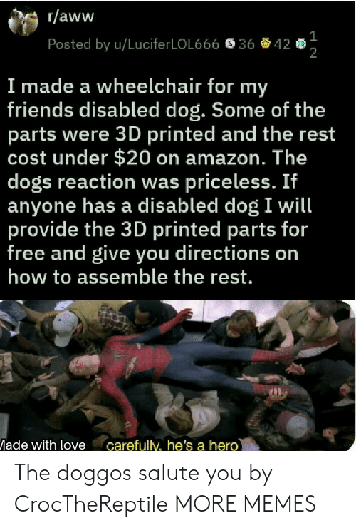 Salute: r/aww  Posted by u/LuciferLOL666  36  42  2  I made a wheelchair for my  friends disabled dog. Some of the  parts were 3D printed and the rest  cost under $20 on amazon. The  dogs reaction was priceless. If  anyone has a disabled dog I will  provide the 3D printed parts for  free and give you directions on  how to assemble the rest.  ade with love carefully, he's a hero The doggos salute you by CrocTheReptile MORE MEMES