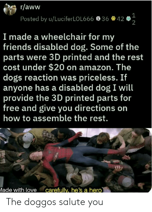 Salute: r/aww  Posted by u/LuciferLOL666  36  42  2  I made a wheelchair for my  friends disabled dog. Some of the  parts were 3D printed and the rest  cost under $20 on amazon. The  dogs reaction was priceless. If  anyone has a disabled dog I will  provide the 3D printed parts for  free and give you directions on  how to assemble the rest.  ade with love carefully, he's a hero The doggos salute you