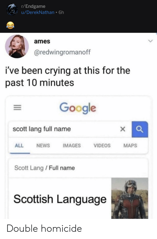 Scottish Language: r/Endgame  u/DerekNathan 6h  ames  @redwingromanoff  ive been crying at this for the  past 10 minutes  Google  scott lang full name  ALL  VIDEOS  MAPS  NEWS  IMAGES  Scott Lang / Full name  Scottish Language Double homicide