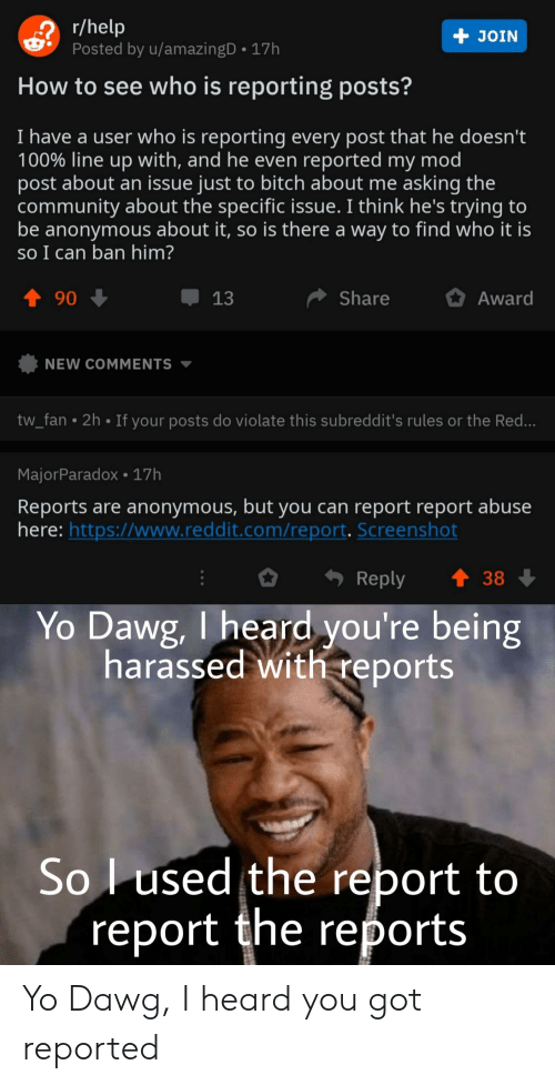 Bitch, Community, and Reddit: r/help  Posted by u/amazingD 17h  + JOIN  How to see who is reporting posts?  I have a user who is reporting every post that he doesn't  100% line up with, and he even reported my mod  post about an issue just to bitch about me asking the  community about the specific issue. I think he's trying to  be anonymous about it, so is there a way to find who it is  so I can ban him?  t 90  Share  13  Award  NEW COMMENTS  tw_fan  2h  If your posts do violate this subreddit's rules or the Red...  MajorParadox 17h  Reports are anonymous, but you can report report abuse  here: https://www.reddit.com/report. Screenshot  t 38  Reply  Yo Dawg, I heard you're being  harassed with reports  Sol used the report to  'report the reports Yo Dawg, I heard you got reported