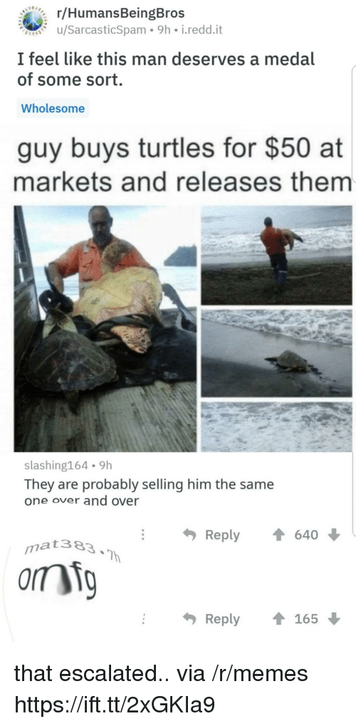 Memes, Wholesome, and Him: r/HumansBeingBros  u/SarcasticSpam 9h i.redd.it  I feel like this man deserves a medal  of some sort.  Wholesome  guy buys turtles for $50 at  markets and releases them  slashing164 9h  They are probably selling him the same  one over and over  Reply  640  matae3  Reply165 that escalated.. via /r/memes https://ift.tt/2xGKIa9