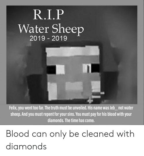 Time, Water, and Truth: R.I.P  Water Sheep  2019 2019  -  Felix, you went too far. The truth must be unveiled. His name was Jeb_not water  sheep.And you must repent for your sins. You must pay for his blood with your  diamonds. The time has come. Blood can only be cleaned with diamonds