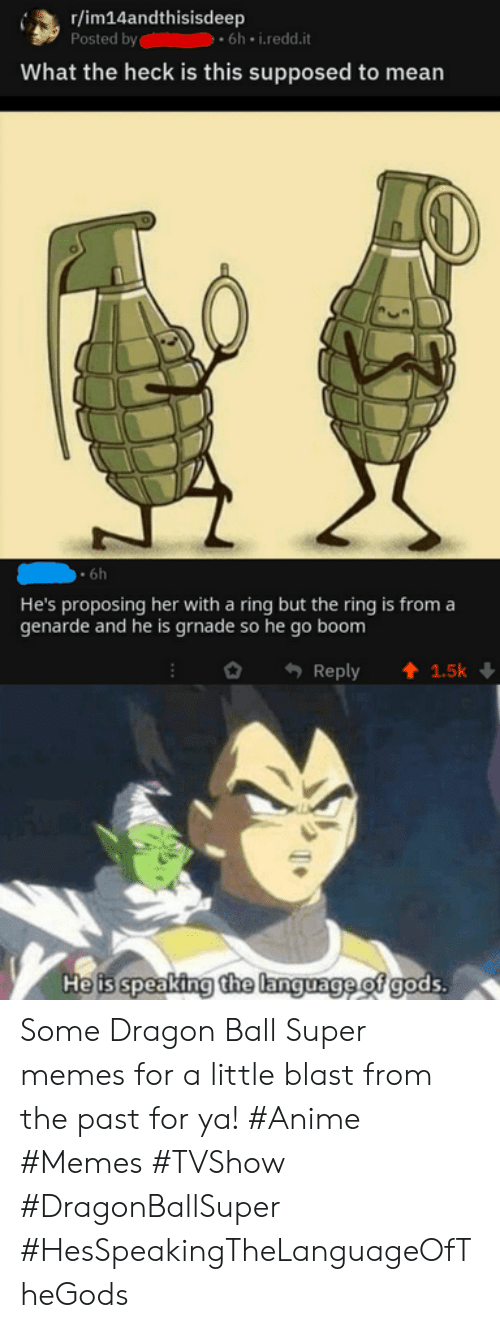 Dragon Ball Super: r/im14andthisisdeep  Posted by  What the heck is this supposed to mean  6h i.redd.it  6h  He's proposing her with a ring but the ring is from a  genarde and he is grnade so he go boom  Reply  1.5k  He is speaking the language of gods. Some Dragon Ball Super memes for a little blast from the past for ya! #Anime #Memes #TVShow #DragonBallSuper #HesSpeakingTheLanguageOfTheGods