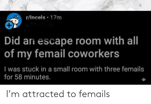 Coworkers, Three, and Did: r/Incels · 17m  Did ari escape room with all  of my femail coworkers  I was stuck in a small room with three femails  for 58 minutes. I'm attracted to femails