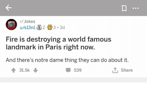 in paris: r/Jokes  tate  Fire is destroying a world famous  landmark in Paris right now.  And there's notre dame thing they can do about it.  會31.5k  539  とShare