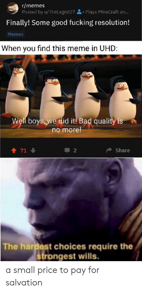 Resolution Memes: r/memes  Posted by u/The Lxgnd 27  Plays MineCraft an...  Finally! Some good fucking resolution!  Memes  When you find this meme in UHD:  Well boys, we did it! Bad quality is  no more!  t 71  Share  The hardest choices require the  strongest wills. a small price to pay for salvation