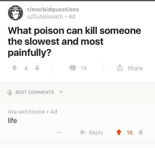 Life, Best, and Best Comments: r/morbidquestions  u/Outekosath 4d  What poison can kill someone  the slowest and most  painfully?  Share  14  4  BEST COMMENTS  Atarashimono 4d  life  Reply 16