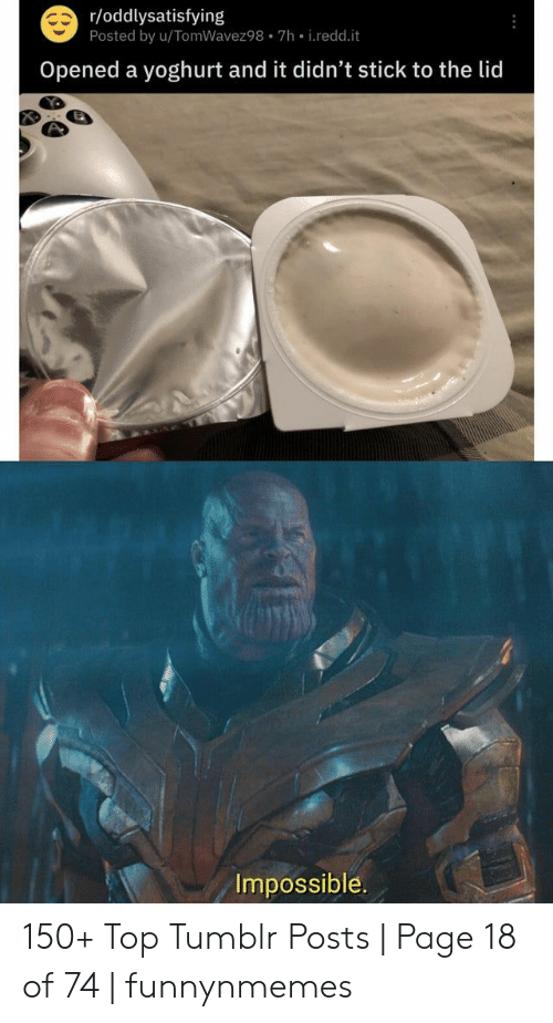Tumblr, Page, and Stick: r/oddlysatisfying  Posted by u/TomWavez98. 7h i.redd.it  Opened a yoghurt and it didn't stick to the lid  Impossible.  IE 150+ Top Tumblr Posts | Page 18 of 74 | funnynmemes