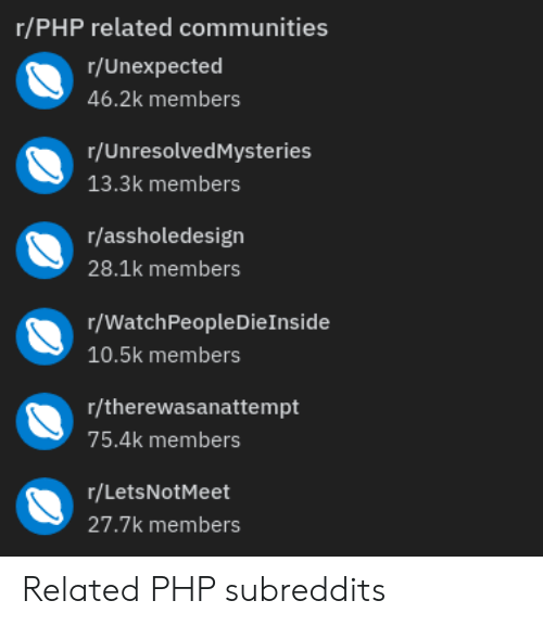 Php, Subreddits, and Letsnotmeet: r/PHP related communities  r/Unexpected  46.2k members  r/UnresolvedMysteries  13.3k members  r/assholedesign  28.1k members  r/WatchPeopleDieInside  10.5k members  r/therewasanattempt  75.4k members  r/LetsNotMeet  27.7k members Related PHP subreddits