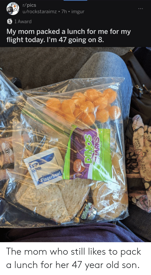 pack: r/pics  u/rockstaraimz 7h imgur  S 1 Award  My mom packed a lunch for me for my  flight today. I'm 47 going on 8  Fingerbowl  FOO  SONIO  MilkyV  Bantocr The mom who still likes to pack a lunch for her 47 year old son.