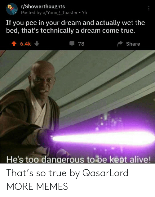 wet: r/Showerthoughts  Posted by u/Young_Toaster 7h  If you pee in your dream and actually wet the  bed, that's technically a dream come true.  6.4k  78  Share  He's too dangerous to be kept alive! That's so true by QasarLord MORE MEMES