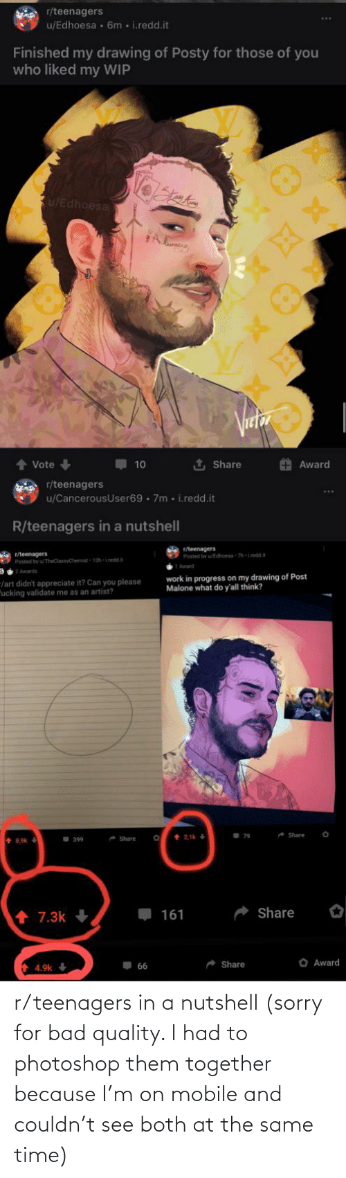 R Teenagers: r/teenagers in a nutshell (sorry for bad quality. I had to photoshop them together because I'm on mobile and couldn't see both at the same time)