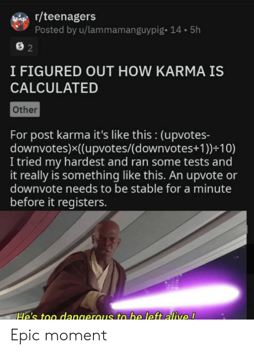 R Teenagers: r/teenagers  Posted by u/lammamanguypig- 14.5h  S 2  I FIGURED OUT HOW KARMA IS  CALCULATED  Other  For post karma it's like this : (upvotes-  downvotes)x((upvotes/(d ownvotes+ 1 ))+10)  I tried my hardest and ran some tests and  it really is something like this. An upvote or  downvote needs to be stable for a minute  before it registers.  He's too dangerous to be left alive ! Epic moment
