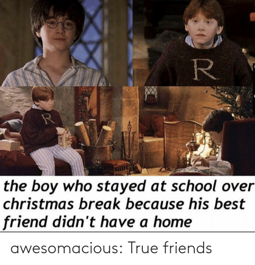 Break: R  the boy who stayed at school over  christmas break because his best  friend didn't have a home awesomacious:  True friends