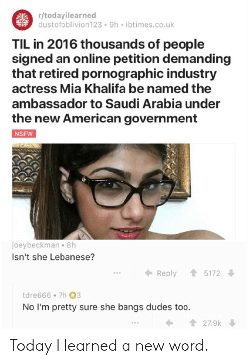 Khalifa: r/todayilearned  dustofoblivion123 9h ibtimes.co.uk  TIL in 2016 thousands of people  signed an online petition demanding  that retired pornographic industry  actress Mia Khalifa be named the  ambassador to Saudi Arabia under  the new American government  joeybeckman 8h  Isn't she Lebanese?  ← Reply 會5172  tdre666 7h 03  No I'm pretty sure she bangs dudes too.  27.9k Today I learned a new word.