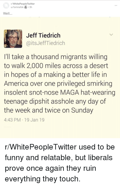 America, Funny, and Life: r/WhitePeopleTwitter  u/lomnafsk 3.3h  Well...  Jeff Tiedrich  aitsJeffTiedrich  Ill take a thousand migrants willing  to walk 2,000 miles across a desert  in hopes of a making a better life in  America over one privileged smirking  insolent snot-nose MAGA hat-wearing  teenage dipshit asshole any day of  the week and twice on Sunday  4:43 PM 19 Jan 19