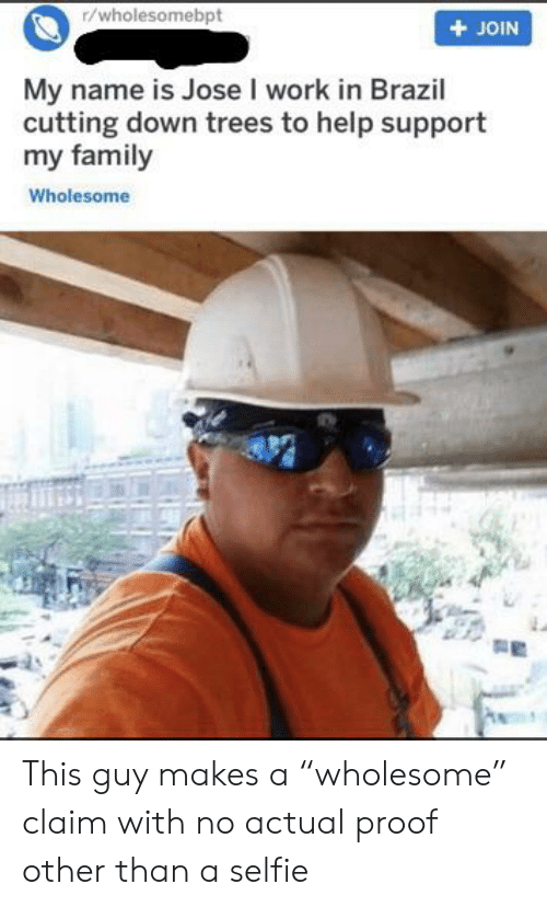 """Family, Selfie, and Work: r/wholesomebpt  JOIN  My name is Jose I work in Brazil  cutting down trees to help support  my family  Wholesome This guy makes a """"wholesome"""" claim with no actual proof other than a selfie"""