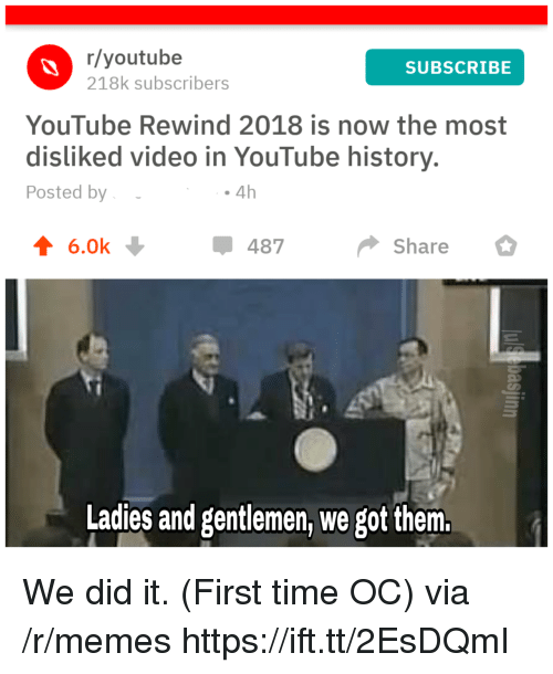 Memes, youtube.com, and History: r/youtube  218k subscribers  SUBSCRIBE  YouTube Rewind 2018 is now the most  disliked video in YouTube history.  Posted by  . 4h  4 6.0k  487  Share  Ladies and gentlemen, we got them. We did it. (First time OC) via /r/memes https://ift.tt/2EsDQmI