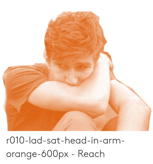 Orange Lad: r010-lad-sat-head-in-arm-orange-600px - Reach