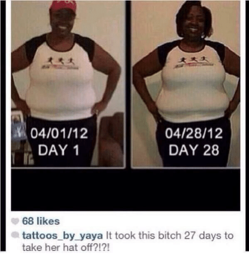 Hat Off: ra  04/01/12  DAY 1  04/28/12  DAY 28  68 likes  tattoos_by_yaya It took this bitch 27 days to  take her hat off?!?!