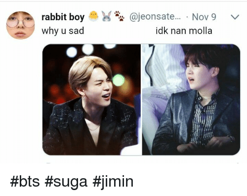 Rabbit, Sad, and Bts: rabbit boy S).  why u sad  @jeonsate... . Nov9  idk nan molla #bts #suga #jimin