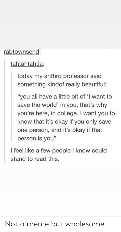 "Beautiful, College, and Meme: rabtownsend:  tahtahtahtia:  today my anthro professor said  something kindof really beautiful:  ""you all have a little bit of 'I want to  save the world"" in you, that's why  you're here, in college. I want you to  know that it's okay if you only save  one person, and it's okay if that  person is you""  I feel like a few people I know could  stand to read this. Not a meme but wholesome"