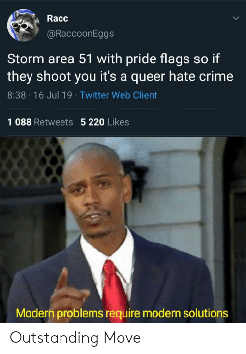 Crime, Twitter, and Area 51: Racc  @RaccoonEggs  Storm area 51 with pride flags so if  they shoot you it's a queer hate crime  8:38 16 Jul 19 Twitter Web Client  1 088 Retweets 5 220 Likes  Modern problems require modern solutions Outstanding Move