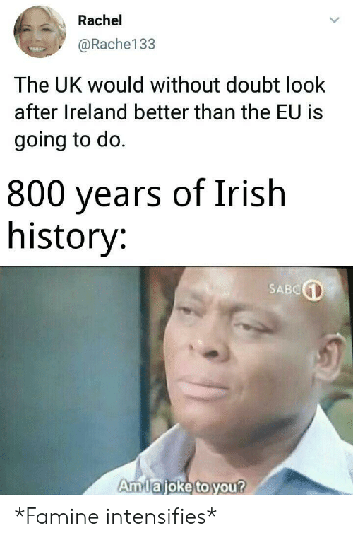Irish, History, and Ireland: Rachel  @Rache133  The UK would without doubt look  after Ireland better than the EU is  going to do.  800 years of Irish  history:  SABC  Amlajoke to you? *Famine intensifies*