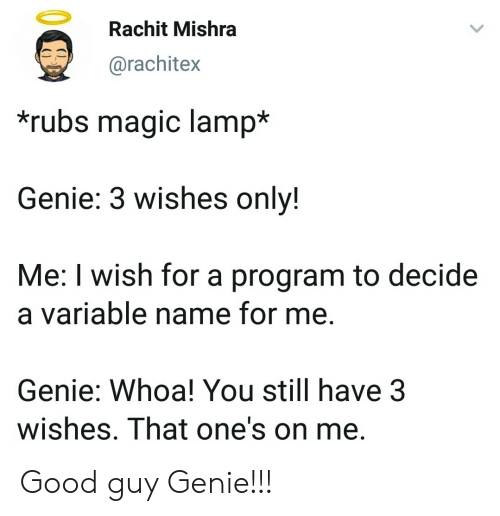 Rubs: Rachit Mishra  @rachitex  rubs magic lamp*  Genie: 3 wishes onlv!  Me: I wish for a program to decide  a variable name for me.  Genie: Whoa! You still have 3  wishes. That one's on me Good guy Genie!!!