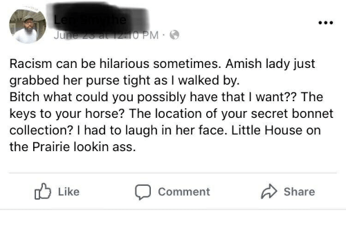 Little House on the Prairie: Racism can be hilarious sometimes. Amish lady just  grabbed her purse tight as I walked by  Bitch what could you possibly have that I want?? The  keys to your horse? The location of your secret bonnet  collection? I had to laugh in her face. Little House on  the Prairie lookin ass  Like  Share  Comment