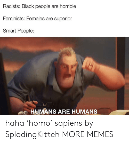 smart people: Racists: Black people are horrible  Feminists: Females are superior  Smart People:  HUMANS ARE HUMANS haha 'homo' sapiens by SplodingKitteh MORE MEMES