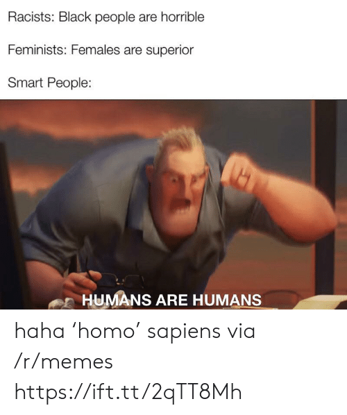 smart people: Racists: Black people are horrible  Feminists: Females are superior  Smart People:  HUMANS ARE HUMANS haha 'homo' sapiens via /r/memes https://ift.tt/2qTT8Mh