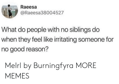 Good Reason: Raeesa  @Raeesa38004527  What do people with no siblings do  when they feel like irritating someone for  no good reason? MeIrl by Burningfyra MORE MEMES