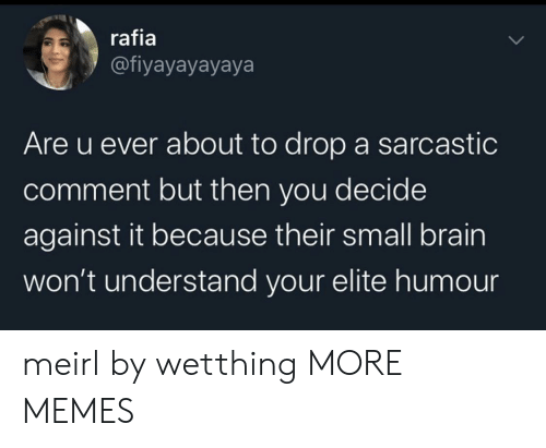 Elite: rafia  @fiyayayayaya  Are u ever about to drop a sarcastic  comment but then you decide  against it because their small brain  won't understand your elite humo meirl by wetthing MORE MEMES