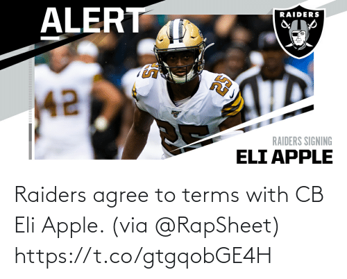 Terms: Raiders agree to terms with CB Eli Apple. (via @RapSheet) https://t.co/gtgqobGE4H