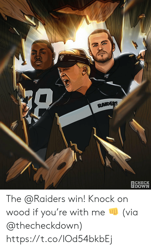 Memes, Raiders, and 🤖: RAIDERS  CHECK   DOWN The @Raiders win!  Knock on wood if you're with me 👊 (via @thecheckdown) https://t.co/IOd54bkbEj