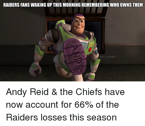 raiders-fans: RAIDERS FANS WAKING UP THIS MORNING REMEMBERING WHOOWNSTHEM  NFL MEMES Andy Reid & the Chiefs have now account for 66% of the Raiders losses this season