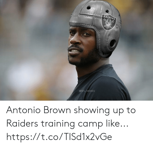 Football, Memes, and Nfl: RAIDERS  @NFL MEMES Antonio Brown showing up to Raiders training camp like... https://t.co/TISd1x2vGe