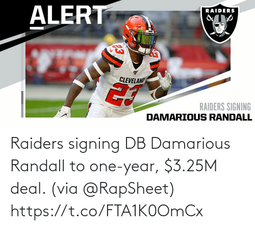 One Year: Raiders signing DB Damarious Randall to one-year, $3.25M deal. (via @RapSheet) https://t.co/FTA1K0OmCx