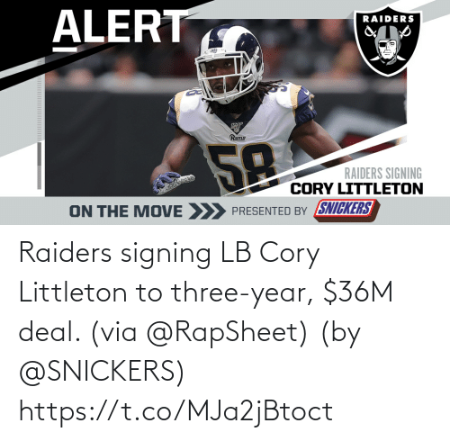 Signing: Raiders signing LB Cory Littleton to three-year, $36M deal. (via @RapSheet)  (by @SNICKERS) https://t.co/MJa2jBtoct