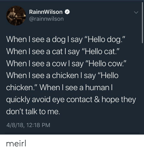 """Hello, Chicken, and Hope: RainnWilson *  @rainnwilson  When I see a dog I say """"Hello dog.""""  When I see a cat I say """"Hello cat.""""  When I see a cowl say """"Hello cow.""""  When l see a chicken l say """"Hello  chicken."""" When l see a human l  quickly avoid eye contact & hope they  don't talk to me.  4/8/18, 12:18 PM meirl"""