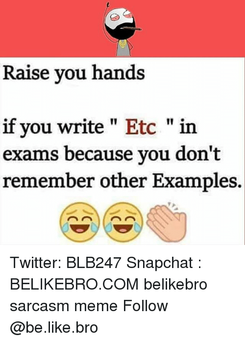 """Be Like, Meme, and Memes: Raise you hands  if you write"""" Etc """"in  exams because you don't  remember other Examples. Twitter: BLB247 Snapchat : BELIKEBRO.COM belikebro sarcasm meme Follow @be.like.bro"""