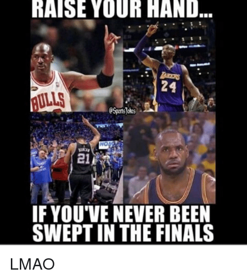 in-the-finals: RAISE YOUR HAND  AULLS  Sports okes  HO  21  IF YOU'VE NEVER BEEN  SWEPT IN THE FINALS LMAO