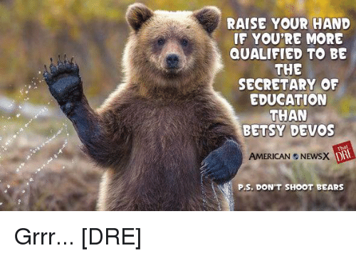 grrr: RAISE YOUR HAND  IF YOU'RE MORE  QUALIFIED TO BE  THE  SECRETARY OF  EDUCATION  THAN  BETSY DEVOS  AMERICAN NEWSX  P.S. DON'T SHOOT BEARS Grrr... [DRE]