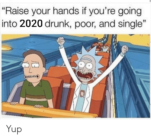 "Raise: ""Raise your hands if you're going  into 2020 drunk, poor, and single"" Yup"