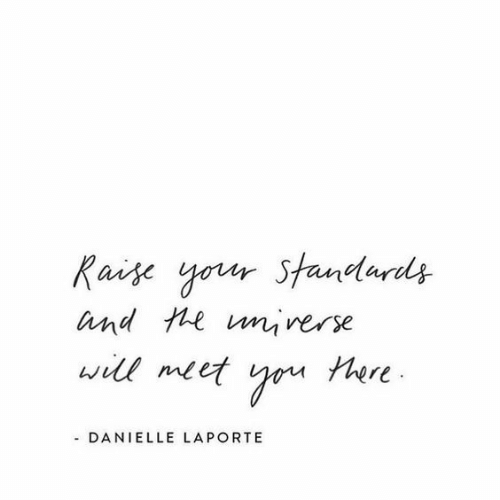 Standards: Raise your Standards  and te unrerse  will meet  tere  - DANIELLE LAPORTE