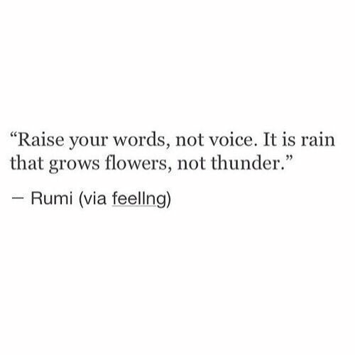 "thunder: ""Raise your words, not voice. It is rain  that grows flowers, not thunder.""  - Rumi (via feellng)"