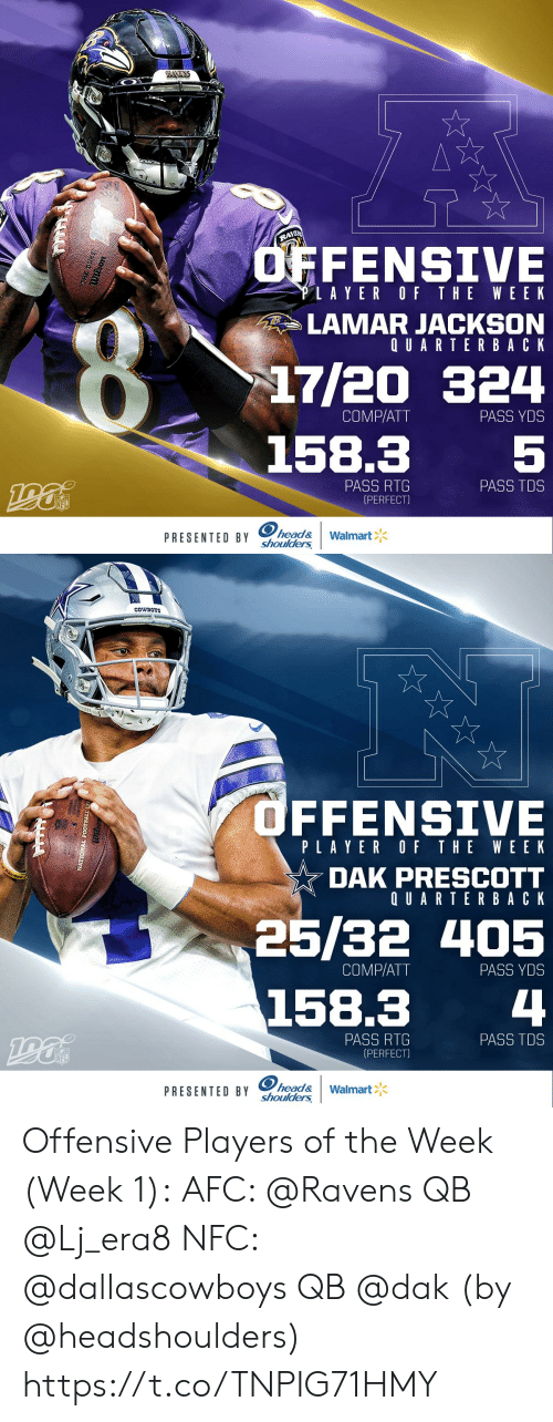 Dallas Cowboys, Football, and Head: RAMENS  RAYEN  OFFENSIVE  LAYER OF THE WEEK  LAMAR JACKSON  QUARTERBACK  17/20 324  COMP/ATT  PASS YDS  5  158.3  PASS RTG  (PERFECT)  PASS TDS  NFL  PRESENTED BY head&  shoulders  Walmart  ेके  या   COWBOYS  OFFENSIVE  PLAYER OF THE WEEK  DAK PRESCOTT  QUARTERBACK  25/32 405  COMP/ATT  PASS YDS  158.3  4  PASS RTG  (PERFECT)  PASS TDS  INFL  PRESENTED BY head&  shoulders  Walmart  NATIONAL FOOTBALL LE Offensive Players of the Week (Week 1):  AFC: @Ravens QB @Lj_era8 NFC: @dallascowboys QB @dak  (by @headshoulders) https://t.co/TNPIG71HMY