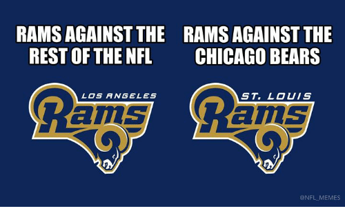 Chicago Bears: RAMS AGAINST THE  REST OF THE NFL  RAMS AGAINST THE  CHICAGO BEARS  LOS ANGELES  ST. LOUIS  ams  ams  @NFL MEMES