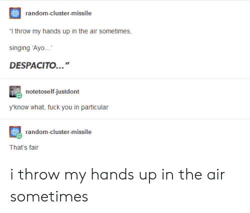 """What Fuck: random-cluster-missile  """"T throw my hands up in the air sometimes  singing 'Ayo  DESPACITO..  notetoself-justdont  y'know what, fuck you in particular  random-cluster-missile  That's fair i throw my hands up in the air sometimes"""